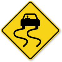 US Slippery When Wet Road Sign